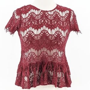 Tops - Maroon Lace Zip Up Peplum Top